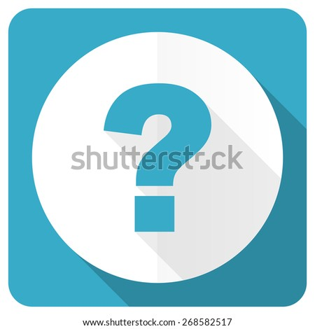 question mark blue flat icon ask sign  - stock photo