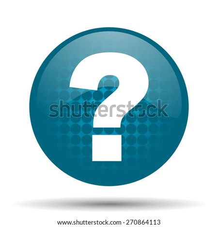 question mark blue glossy web icon  - stock photo