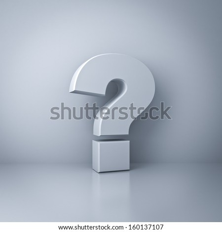 Question mark concept on white wall background with reflection - stock photo