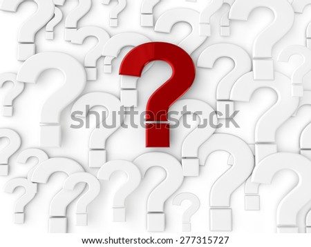 Question Mark - 3d text over white background - stock photo