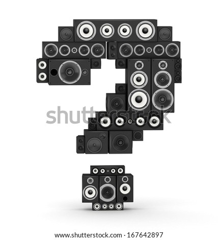 Question mark from black woods hi-fi speakers sound systems - stock photo