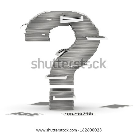Question mark, from stacks of paper pages font - stock photo
