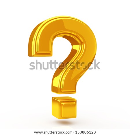 Question mark golden - stock photo