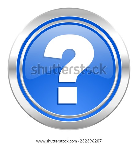 question mark icon, blue button, ask sign  - stock photo