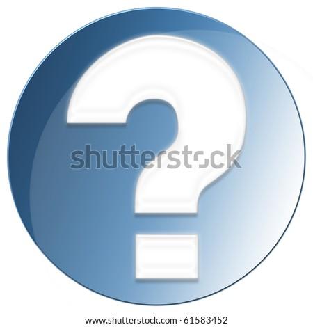 Question Mark Icon - blue color - stock photo
