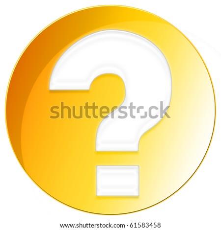 Question Mark Icon - orange color - stock photo