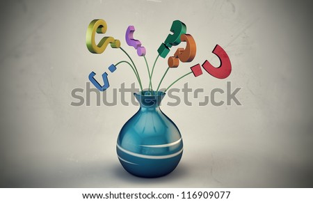 question mark in a vase isolated on white background - stock photo