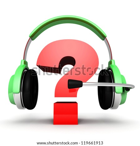 Question mark in headphones. on-line support concept - stock photo