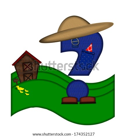 """Question mark , in the alphabet set """"Down on the Farm,"""" is dressed in denim overalls complete with pockets.  Letter sits on farm scene with rolling hills, barn, and ducks. - stock photo"""