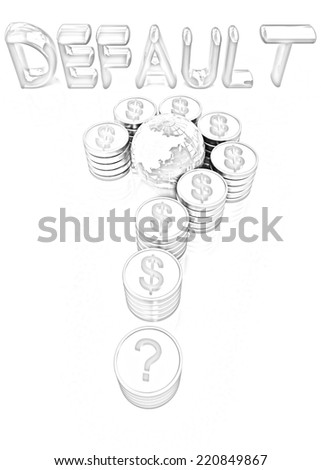 Question mark in the form of gold coins with dollar sign on a white background. Pencil drawing  - stock photo