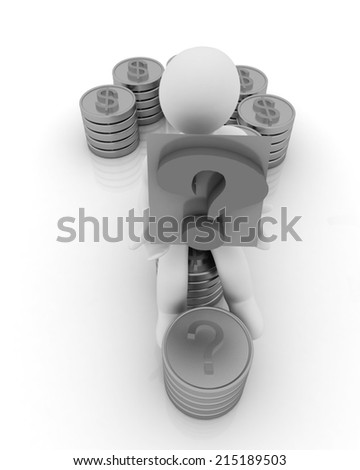 Question mark in the form of gold coins with dollar sign with 3d man on a white background - stock photo