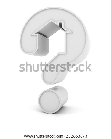 Question mark in the shape of a house, 3d render, white background - stock photo