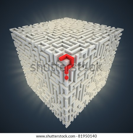 question mark inside cubical maze - stock photo