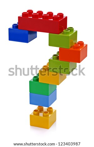 Question mark made from plastic building blocks - stock photo