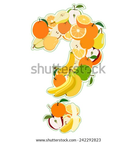 Question mark made of fruits. Illustration - stock photo