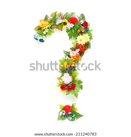 Question mark made of leaves and flowers - stock photo