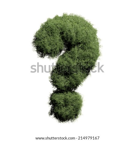 Question mark. Moss alphabet isolated on white. Grass font. - stock photo
