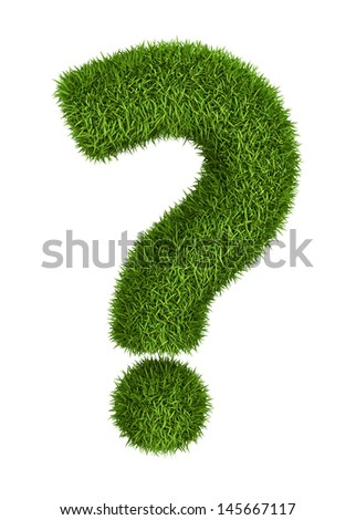 Question mark - natural 3d isolated photo realistic grass - stock photo