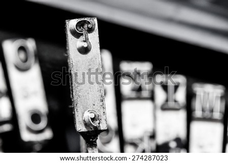 question mark on an antique typewriter. symbolic photo for questions and answers - stock photo