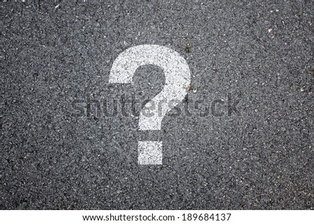 Question mark on road background - stock photo