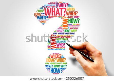 Question mark, Question word cloud, business concept - stock photo
