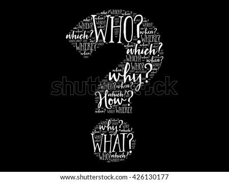 Question mark, Question words cloud business concept - stock photo