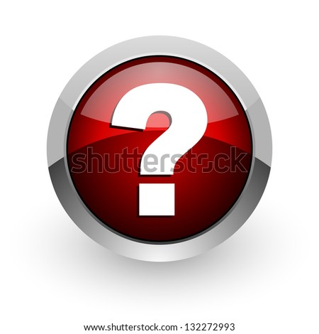 question mark red circle web glossy icon - stock photo
