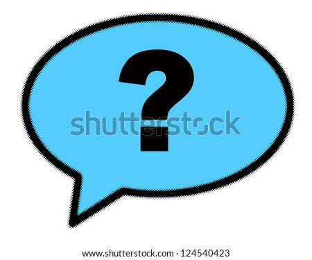 Question mark sign in blue speech bubble - stock photo