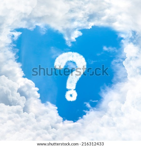 question mark sign on blue sky inside heart cloud form - stock photo