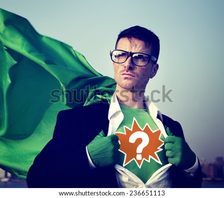Question Mark Strong Superhero Success Professional Empowerment Stock Concept - stock photo