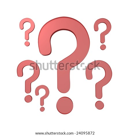 question marks 3d - stock photo