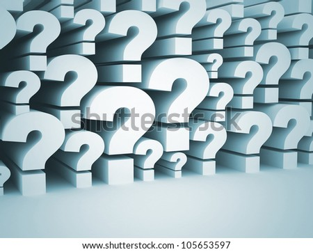 Question marks 3d background - stock photo