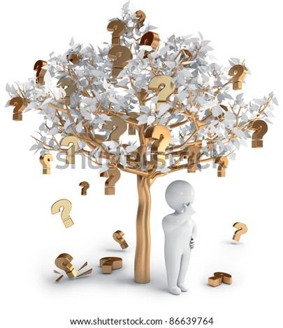 Question marks people tree 3d render - stock photo