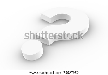 Question. Question Mark, white with shadows. - stock photo