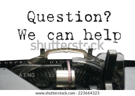 Question? We can help on typewriter - stock photo