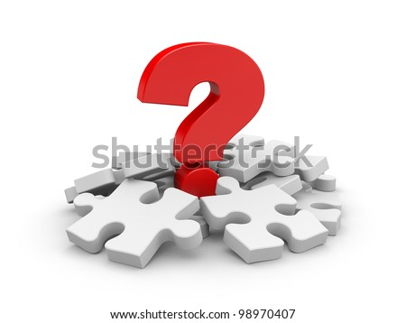 Question with puzzles. Image contain clipping path - stock photo