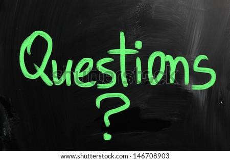 Question written on chalkboard. - stock photo