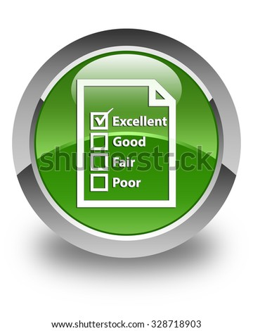 Questionnaire icon glossy soft green round button - stock photo