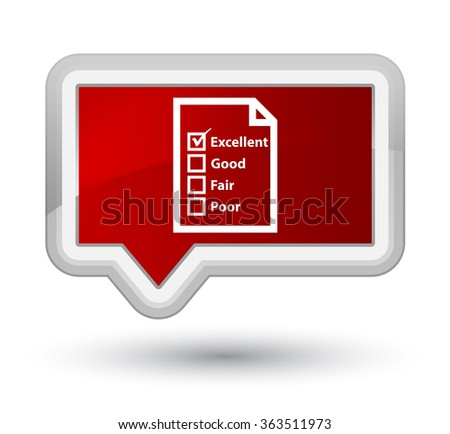 Questionnaire icon red banner button - stock photo