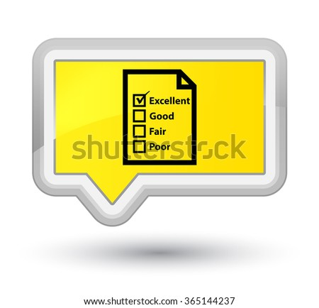 Questionnaire icon yellow banner button - stock photo