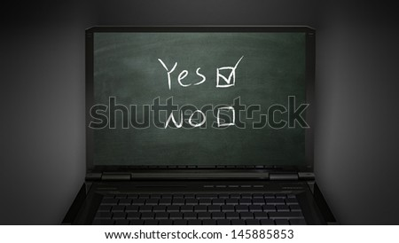 questionnaire theme  is display on laptop screen - stock photo