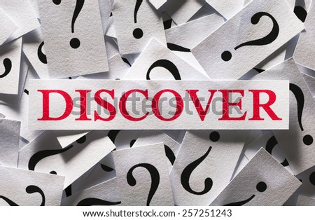 Questions about the Discover , too many question marks - stock photo