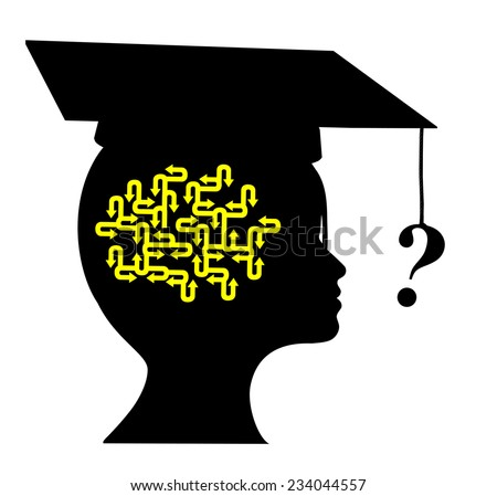Questions after Graduation. Young graduate with many open questions as a professional newcomer depending on a vocational counselor - stock photo