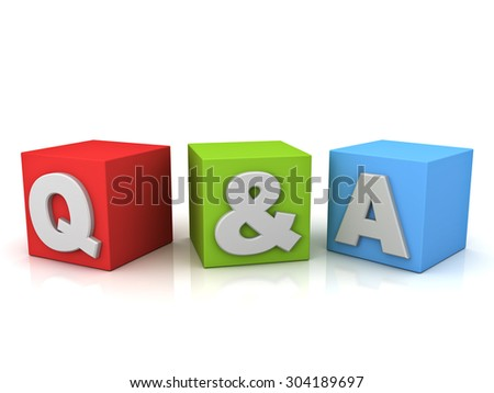 Questions and answers concept Q and A word isolated over white background with reflection - stock photo