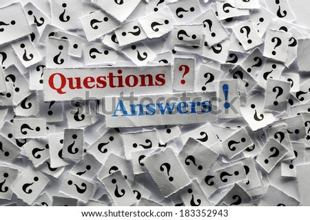 questions and answers  on white papers -hard light - stock photo