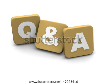 Questions and answers text. 3d rendered illustration isolated on white. - stock photo
