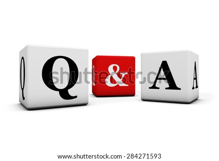 Questions and answers, web faq and business contact center support concept with q and a letter on white and red cubes isolated on white background. - stock photo