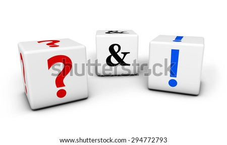 Questions and answers, web faq and business contact center support concept with question mark and exclamation symbol on cubes isolated on white background. - stock photo