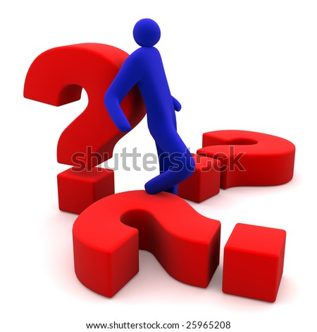 questions and men - stock photo
