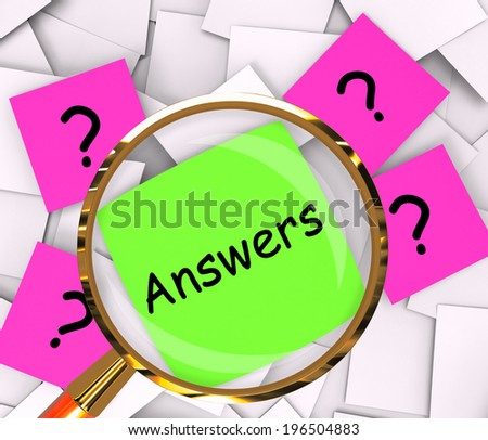 Questions Answers Post-It Papers Showing Asking And Finding Out - stock photo
